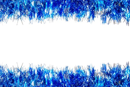 silver frame: Christmas double border of blue and silver garland over a white background Stock Photo