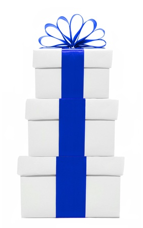 three gift boxes: White and blue Christmas gift boxes stacked