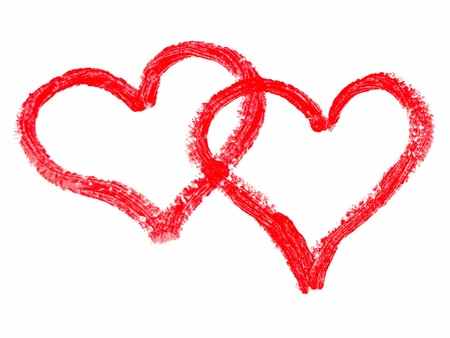 pintalabios: Dos corazones pintados labios pintados de rojo sobre blanco