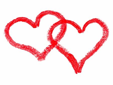 Twee rode lippenstift geschilderde harten over wit