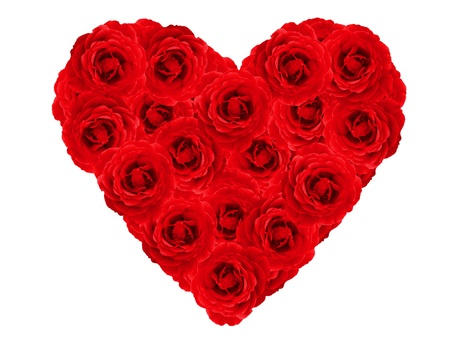 Red heart made of roses  photo