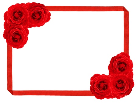 room for text: Red rose and ribbon frame  Stock Photo