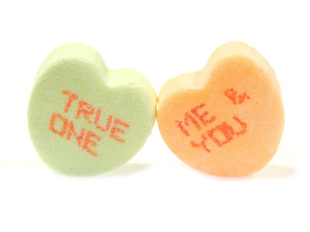Valentines candies with phrases 'let photo