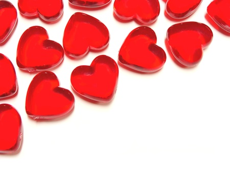 heartshaped: Heart-shaped gem background or border over white Stock Photo