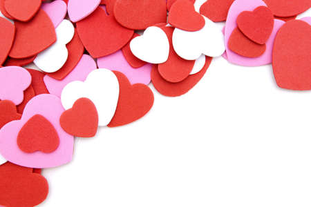 Textured Valentines Day heart-shaped confetti background or border Stock Photo - 11870022