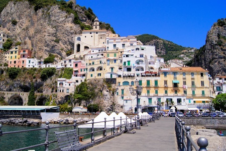 amalfi: View of the town of Amalfi, Italy from the pier Editorial