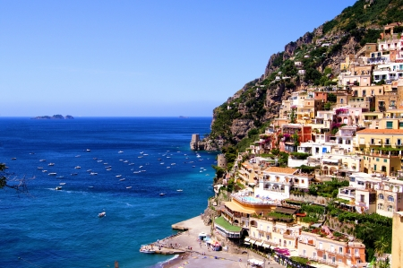 View towards the coastal town of Positano on the Amalfi coast of Italy Stok Fotoğraf