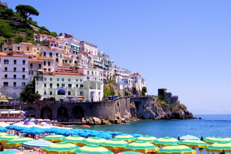 positano: Colorful view over the beach at Amalfi, Italy Stock Photo