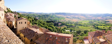 valdorcia: Panoramic view over the landscape of Tuscany from the hill town of Montepulciano