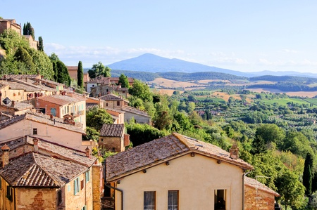 valdorcia: View over the landscape of Tuscany from the hill town of Montepulciano