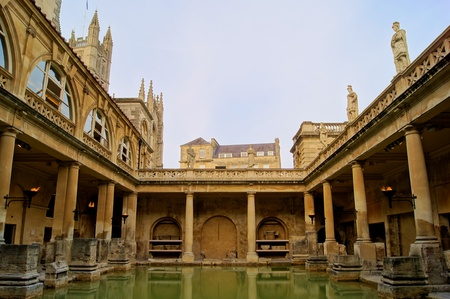 Ancient Roman Baths of Bath England at dusk  photo
