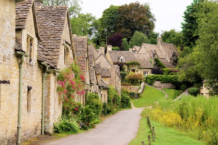 picturesque: Picturesque old stone houses of Arlington Row in the village of Bibury, England