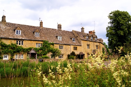 quaint: Village of Lower Slaughter in the Cotwolds of England  Editorial