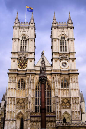 westminster: The facade of the iconic Westminster Abbey, London