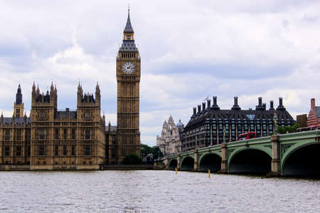 thames: View of Big Ben and Westminster Bridge from across the River Thames