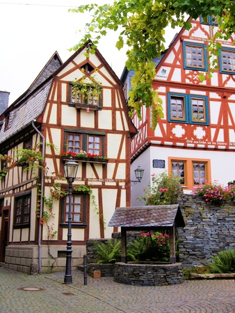 rhein: Half timbered houses of the Rhine Valley village of Bacharach, Germany