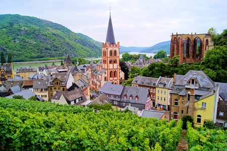 rhein: View over Bacharach along the famous Rhine River, Germany