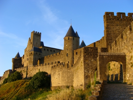 rampart: The castle of Carcassonne at sunset