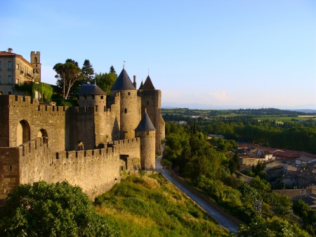 french countryside: The castle of Carcassonne at dusk Stock Photo