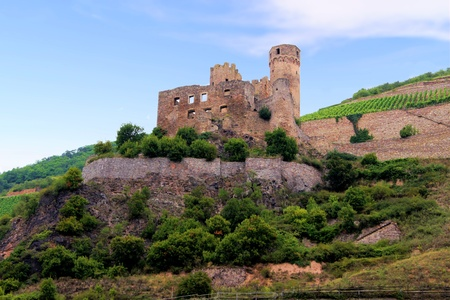 rudesheim: The ruins of medieval Ehrenfels Castle, Rhine River, Germany