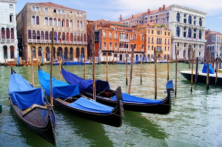 canal house: Gondolas along the famous Grand Canal of Venice, Italy Stock Photo