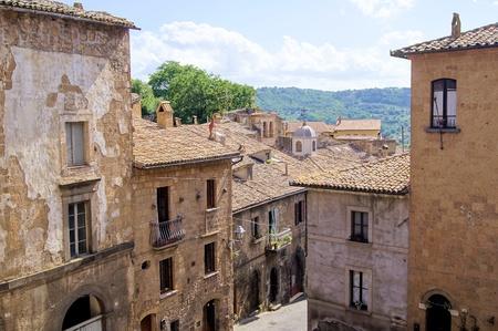 italian village: Medieval stone buildings of the Italian hill town, Orvieto