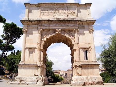 ancient roman: Triumphal Arch of Titus in the ancient Roman Forum