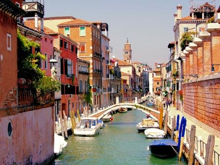 Small quaint canal in the Dorsoduro neighborhood of historic Venice
