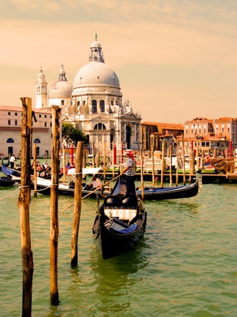 Gondolas of Venice in the Grand Canal near Santa Maria della Salute