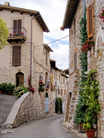 assisi: Medieval street in the Italian hill town of Assisi