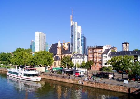 main river: View of the skyline of Frankfurt, Germany