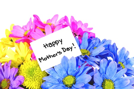 Colorful Mothers Day flowers with gift tag