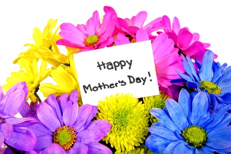 mother day: Colorful Mothers Day flowers with gift tag
