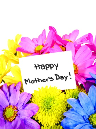 Colorful Mothers Day flowers with gift tag  photo