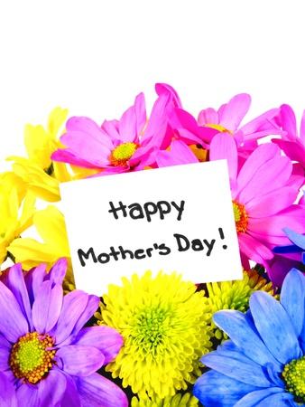 dzień matki: Kolorowe kwiaty Dzień Matki z tagiem prezent Zdjęcie Seryjne