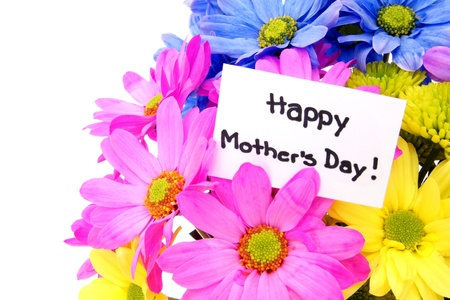 Colorful Mothers Day flowers with gift tag Stock Photo - 13211516