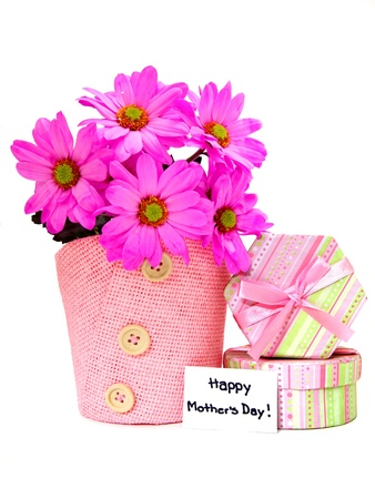 Mothers Day gifts - potted pink daisies and gift boxes photo