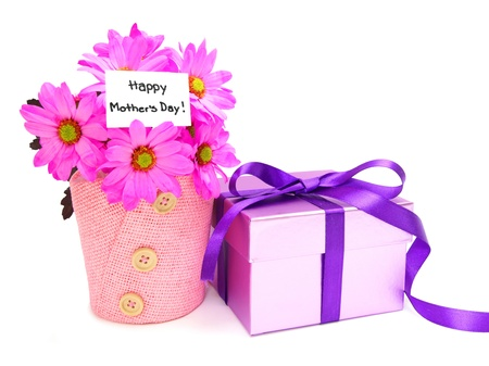 Mothers Day gifts - potted pink daisies and gift box Stock Photo