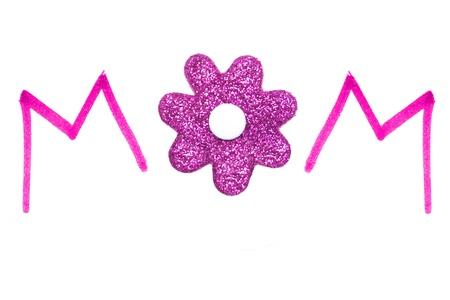 Mamma-Rosa-Handschrift mit glitzernden Blumen-Zentrum Standard-Bild - 13211508