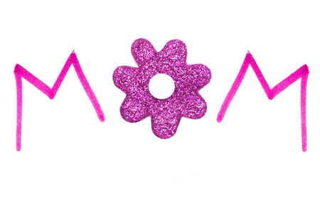 MOM pink handwriting with glittery flower center