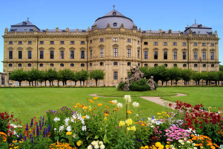 Wurzburg Residenz and colorful gardens, Germany Stock Photo