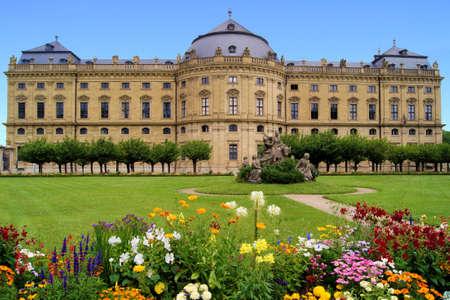 residenz: Wurzburg Residenz and colorful gardens, Germany Stock Photo