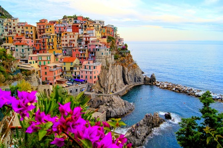 paisaje mediterraneo: Pueblo de Manarola, en la costa de Cinque Terre de Italia, con flores