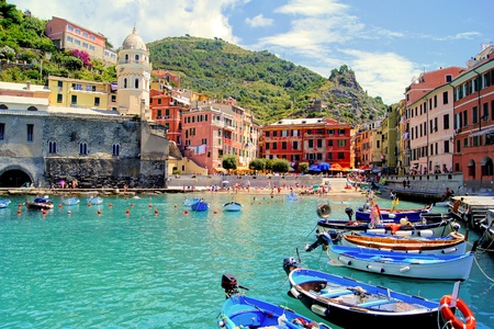 liguria: Colorful harbor at Vernazza, Cinque Terre, Italy
