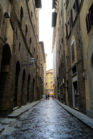 Classic old street in the center of Florence, Italy photo