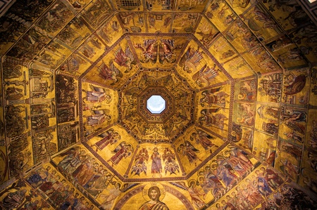 Golden mosaics of the dome of the Baptistery in Florence, Italy