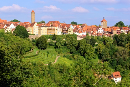der: View of the medieval town of Rothenburg ob der Tauber, Germany