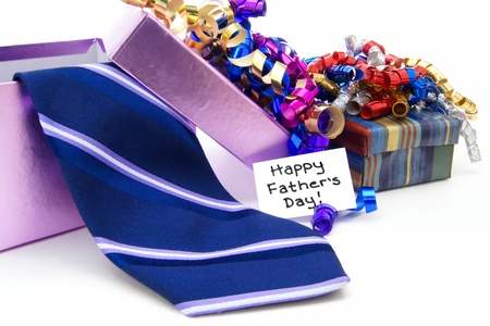 Happy Fathers Day tag with gift boxes and tie photo