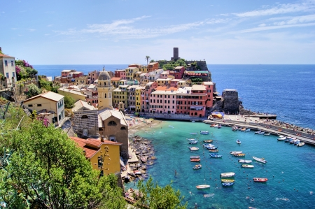 View over the Cinque Terre village of Vernazza, Italy Stock Photo