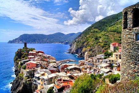 cinque: View over the Cinque Terre village of Vernazza, Italy from the ancient watchtower Stock Photo
